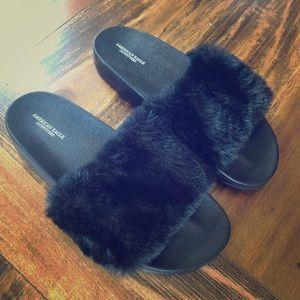 Black faux fur slip on shoes